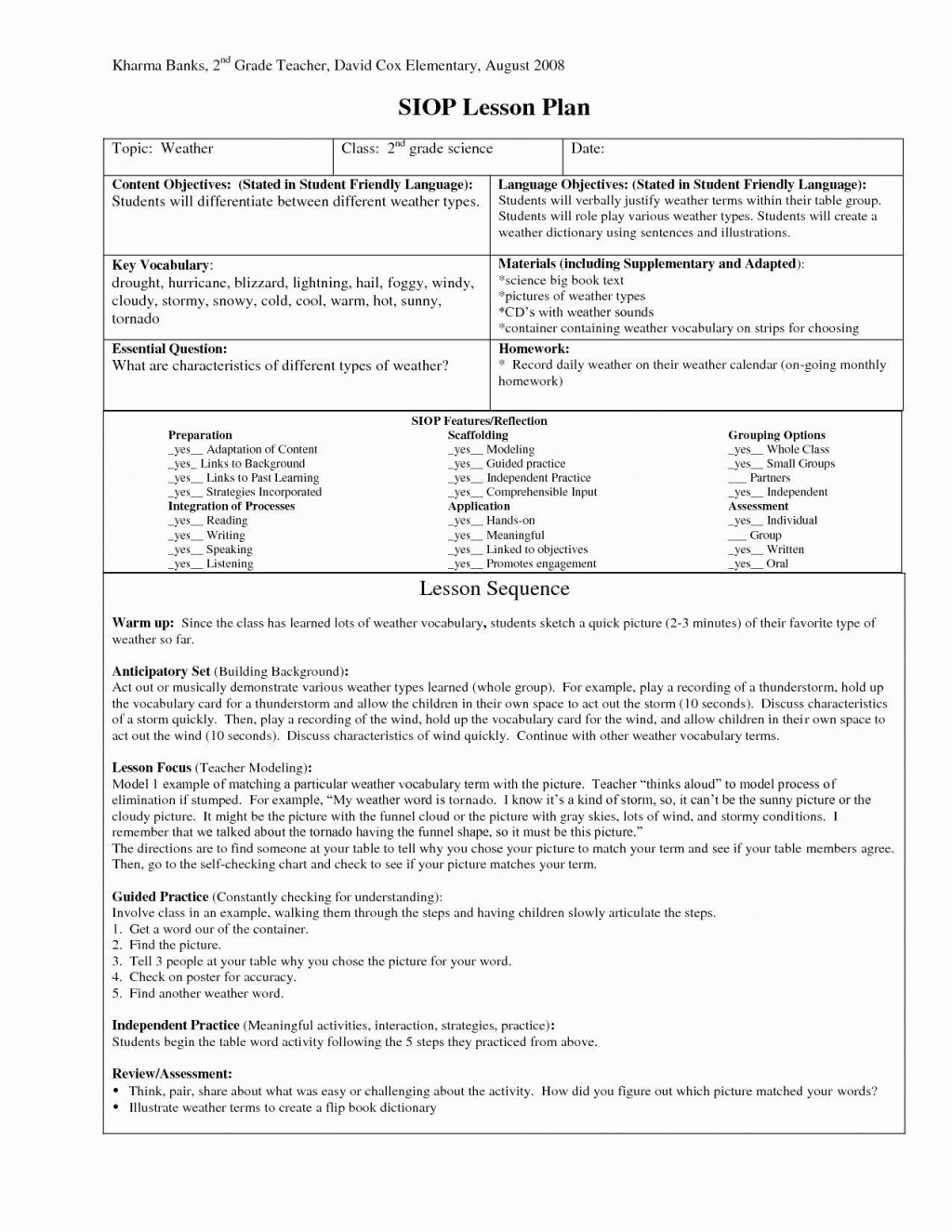 001 Excellent Siop Lesson Plan Example 1st Grade Highest Quality  FirstLarge