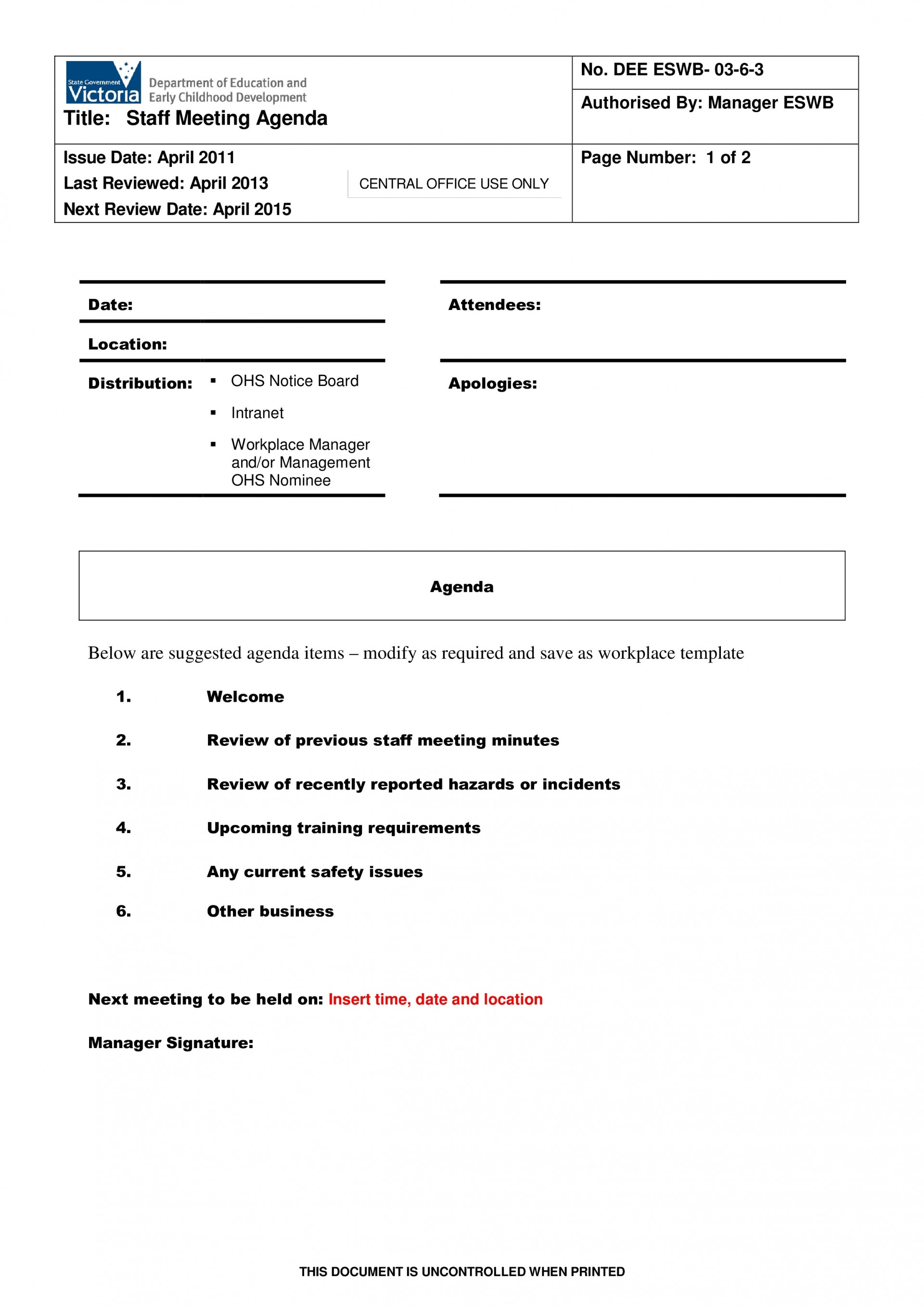 001 Excellent Staff Meeting Agenda Template Concept  Pdf Free1920