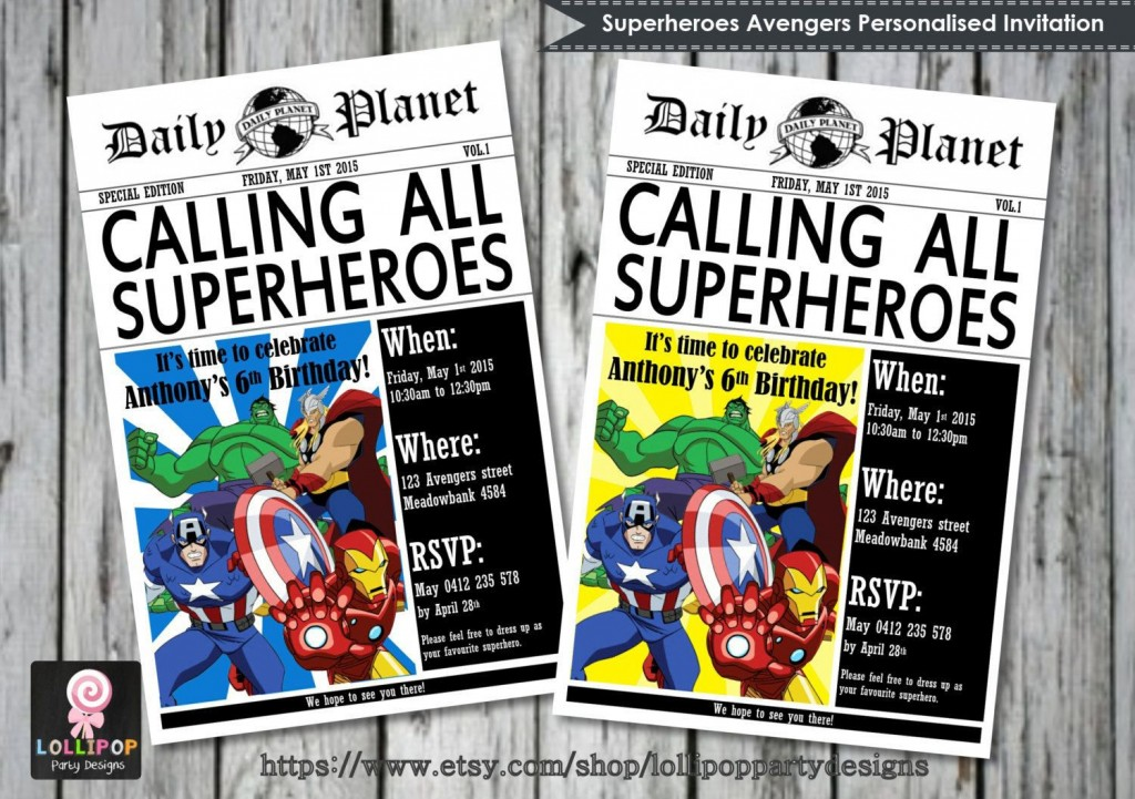001 Excellent Superhero Newspaper Invitation Template Free Picture Large