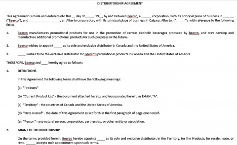 001 Exceptional Exclusive Distribution Agreement Template Word Idea  Format480