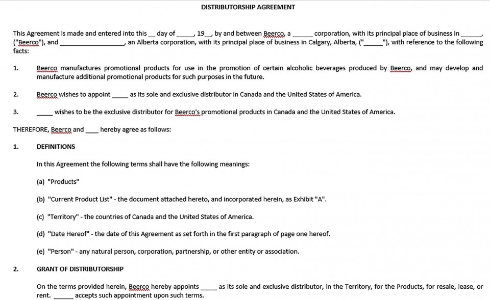 001 Exceptional Exclusive Distribution Agreement Template Word Idea  Format960