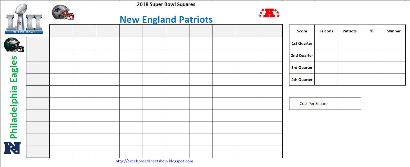 001 Exceptional Football Square Template Excel Sample  Printable PoolFull