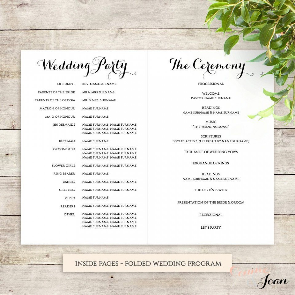 001 Exceptional Free Wedding Order Of Service Template Word Design  Microsoft960