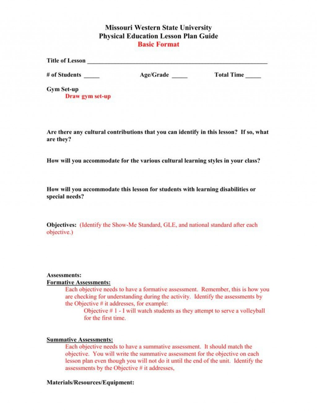 001 Exceptional Physical Education Lesson Plan Template High Def  Elementary PdfLarge
