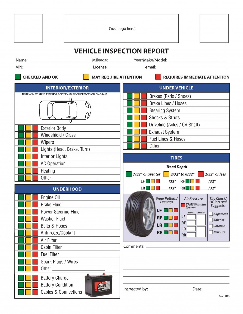 001 Exceptional Vehicle Inspection Form Template Concept  Printable Pdf WordLarge