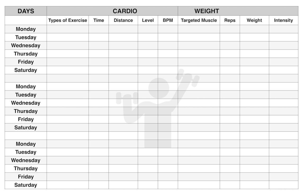 001 Exceptional Workout Schedule Template Excel Concept  Training Plan Download Weekly PlannerFull