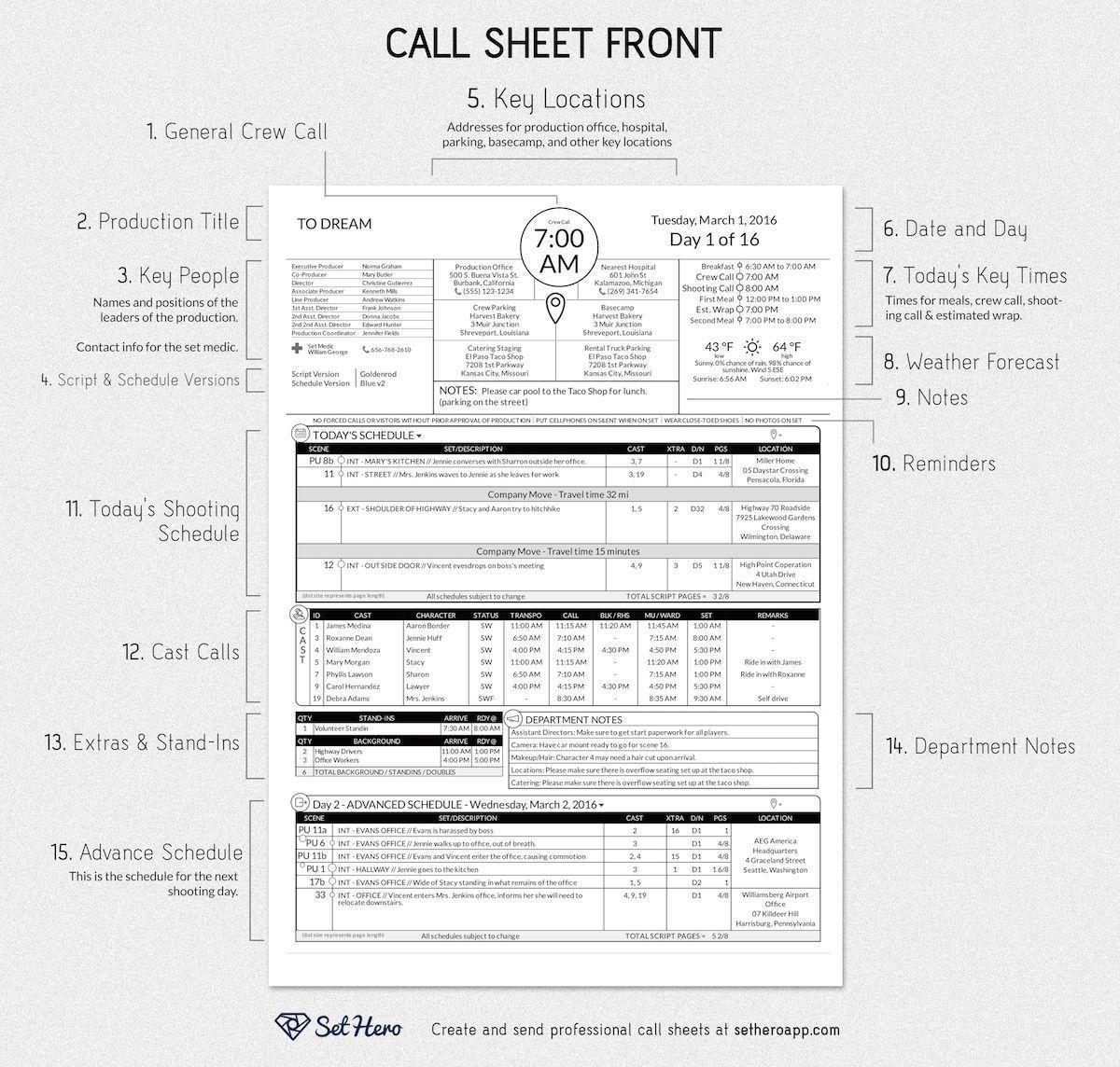001 Fantastic Film Call Sheet Sample Idea  Template Download Excel Google DocFull