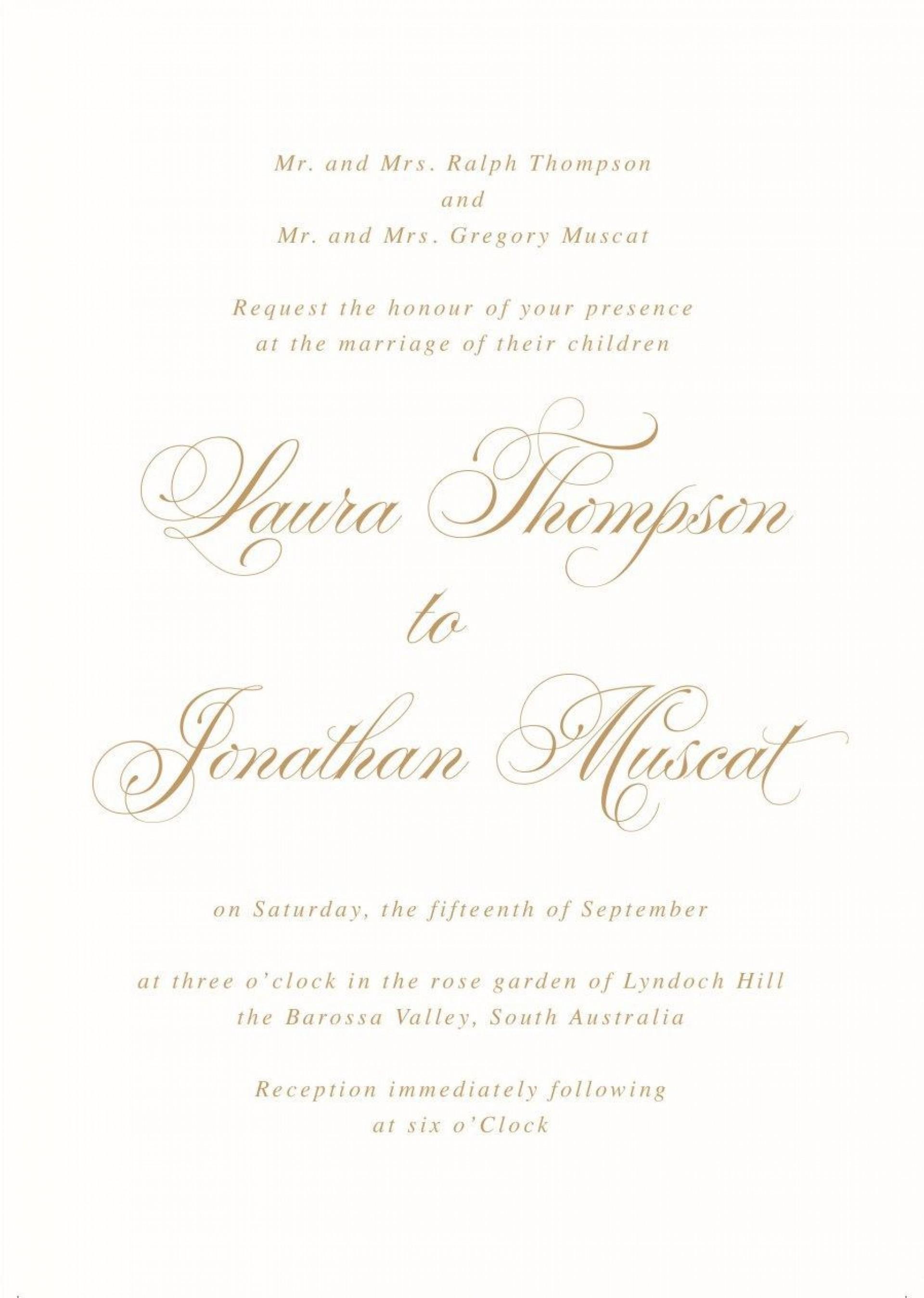 001 Fantastic Formal Wedding Invitation Wording Template Picture  Templates1920