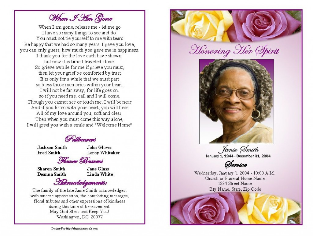 001 Fantastic Funeral Program Template Free High Definition  Printable DesignLarge
