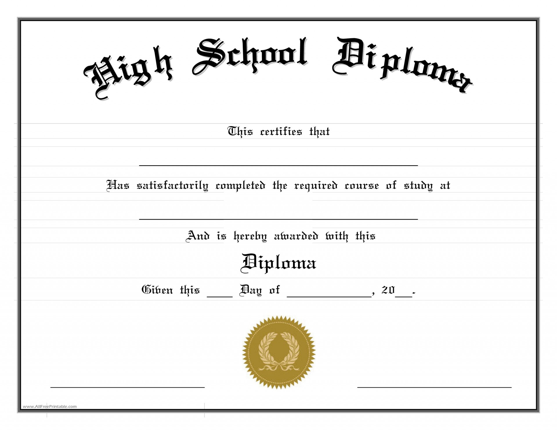 001 Fantastic High School Diploma Template Picture  With Seal Homeschool Free Printable Blank1920