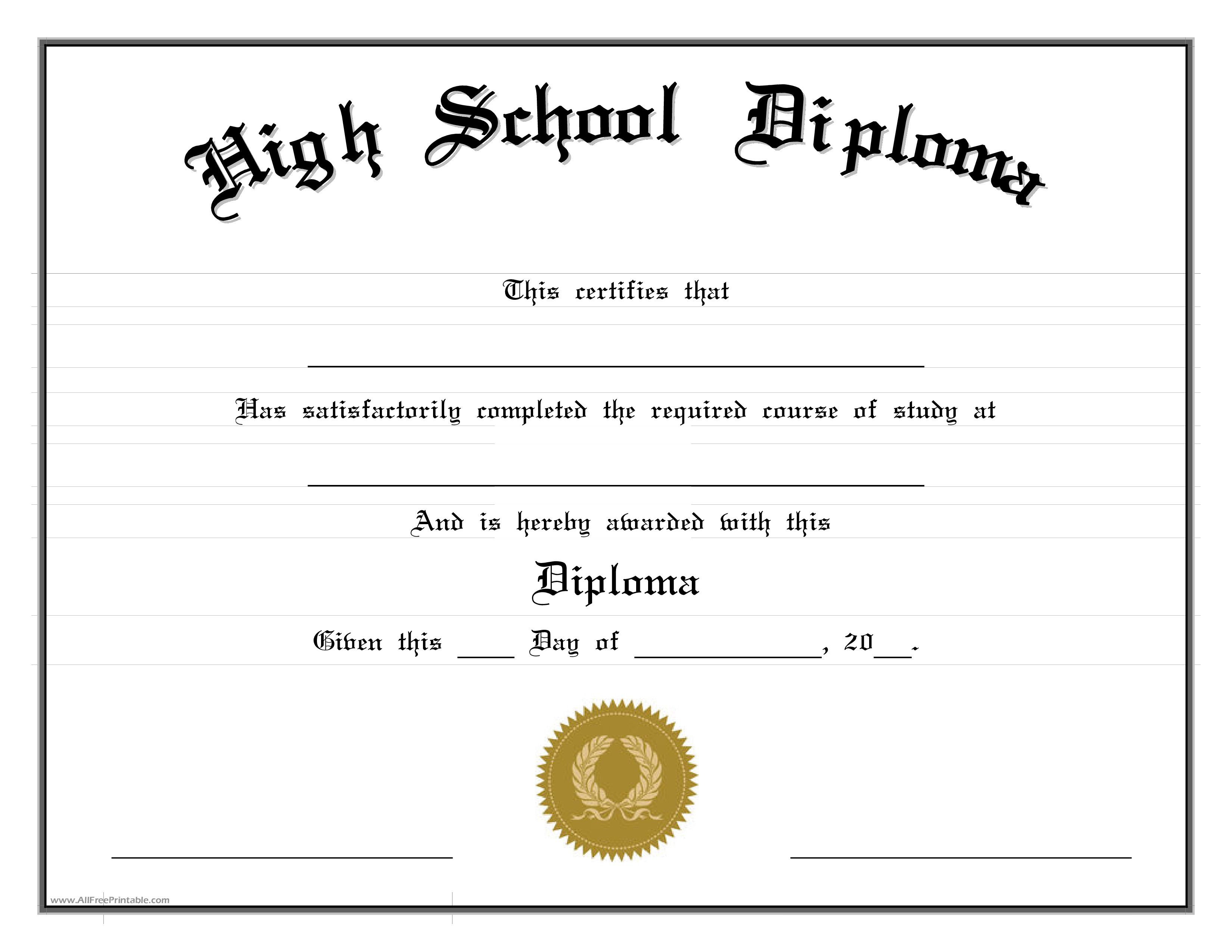 001 Fantastic High School Diploma Template Picture  With Seal Homeschool Free Printable BlankFull