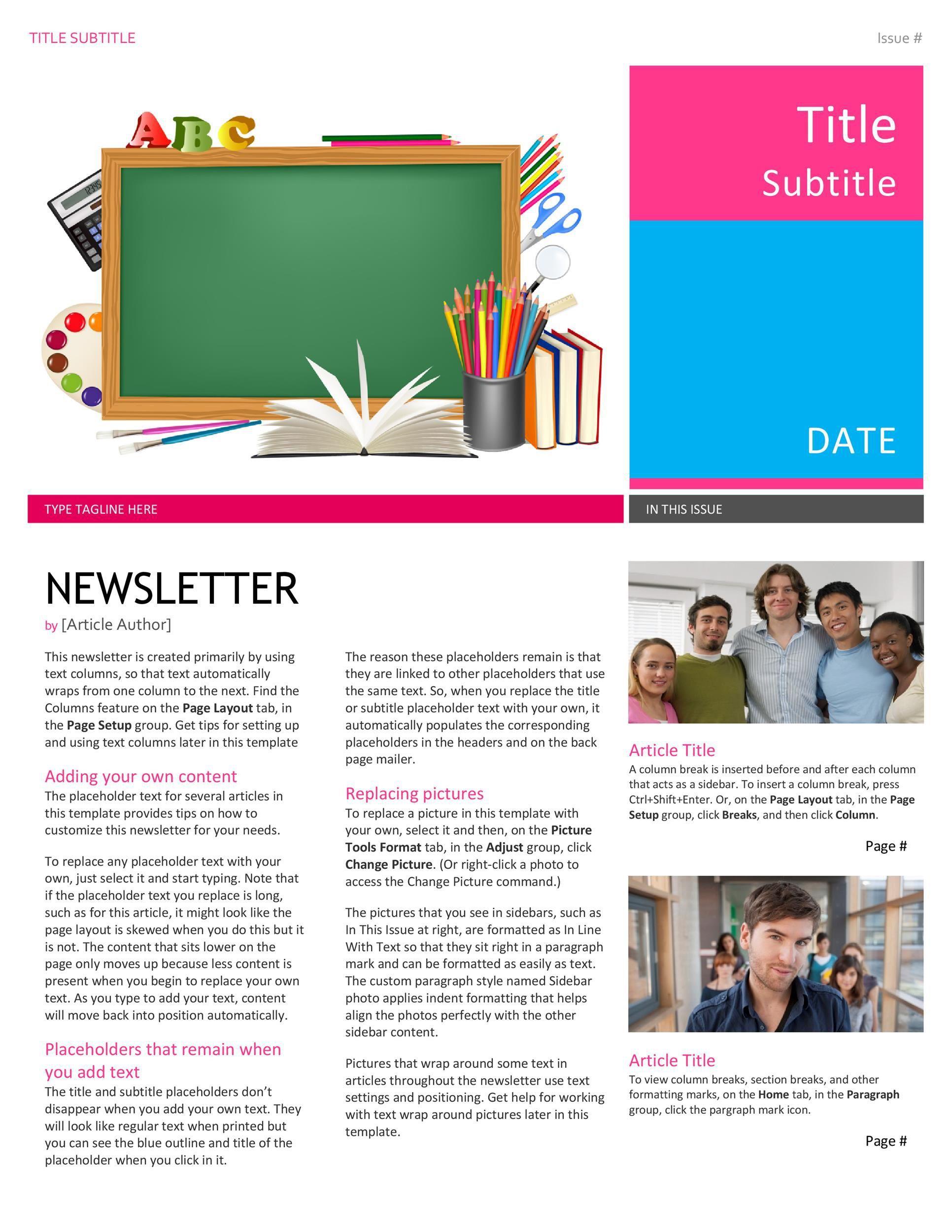 001 Fantastic High School Newsletter Template Free Download Idea Full
