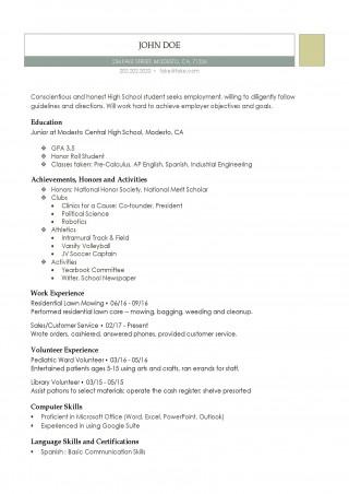 001 Fantastic High School Student Resume Template Resolution  Free Google Doc320