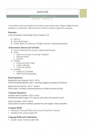 001 Fantastic High School Student Resume Template Resolution  Free Google Doc360