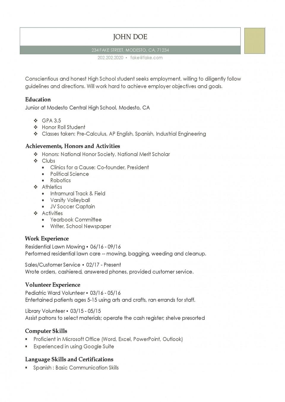 001 Fantastic High School Student Resume Template Resolution  Free Google Doc960