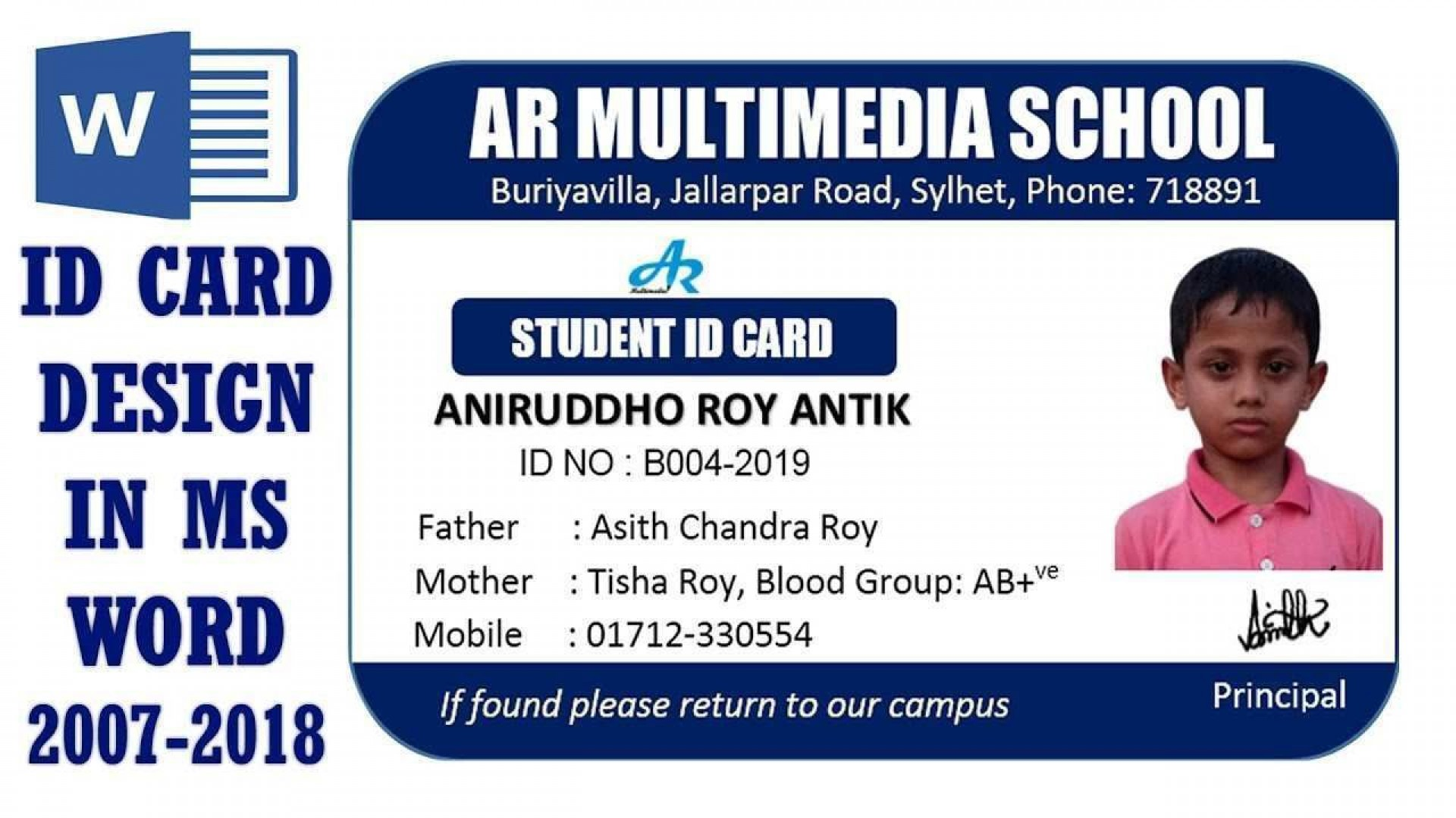 001 Fantastic Student Id Card Template Design  Psd Free School Microsoft Word Download1920