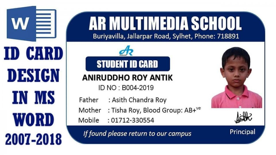 001 Fantastic Student Id Card Template Design  Psd Free School Microsoft Word Download960