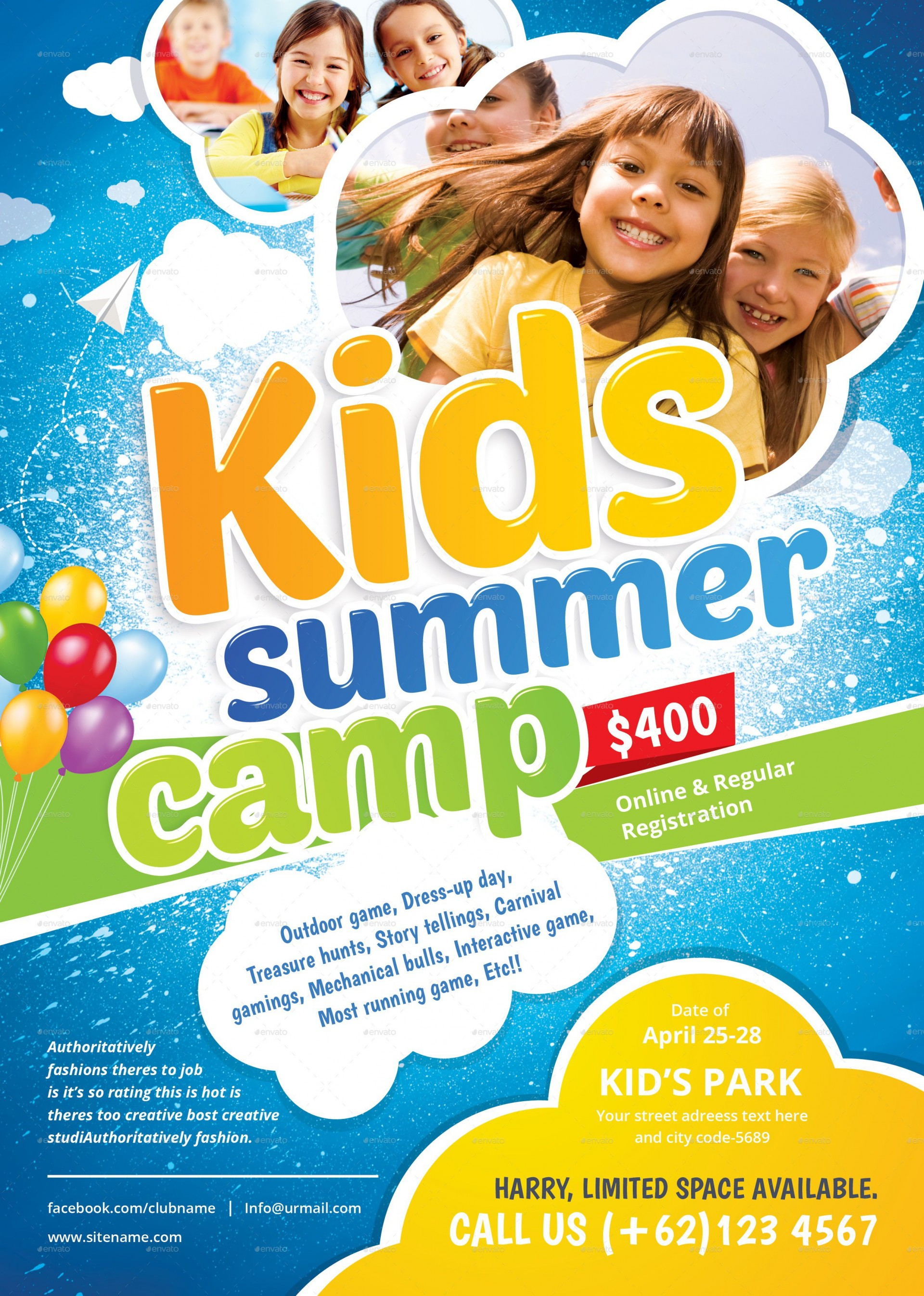 001 Fantastic Summer Camp Flyer Template Highest Quality  Day Microsoft Word Background1920