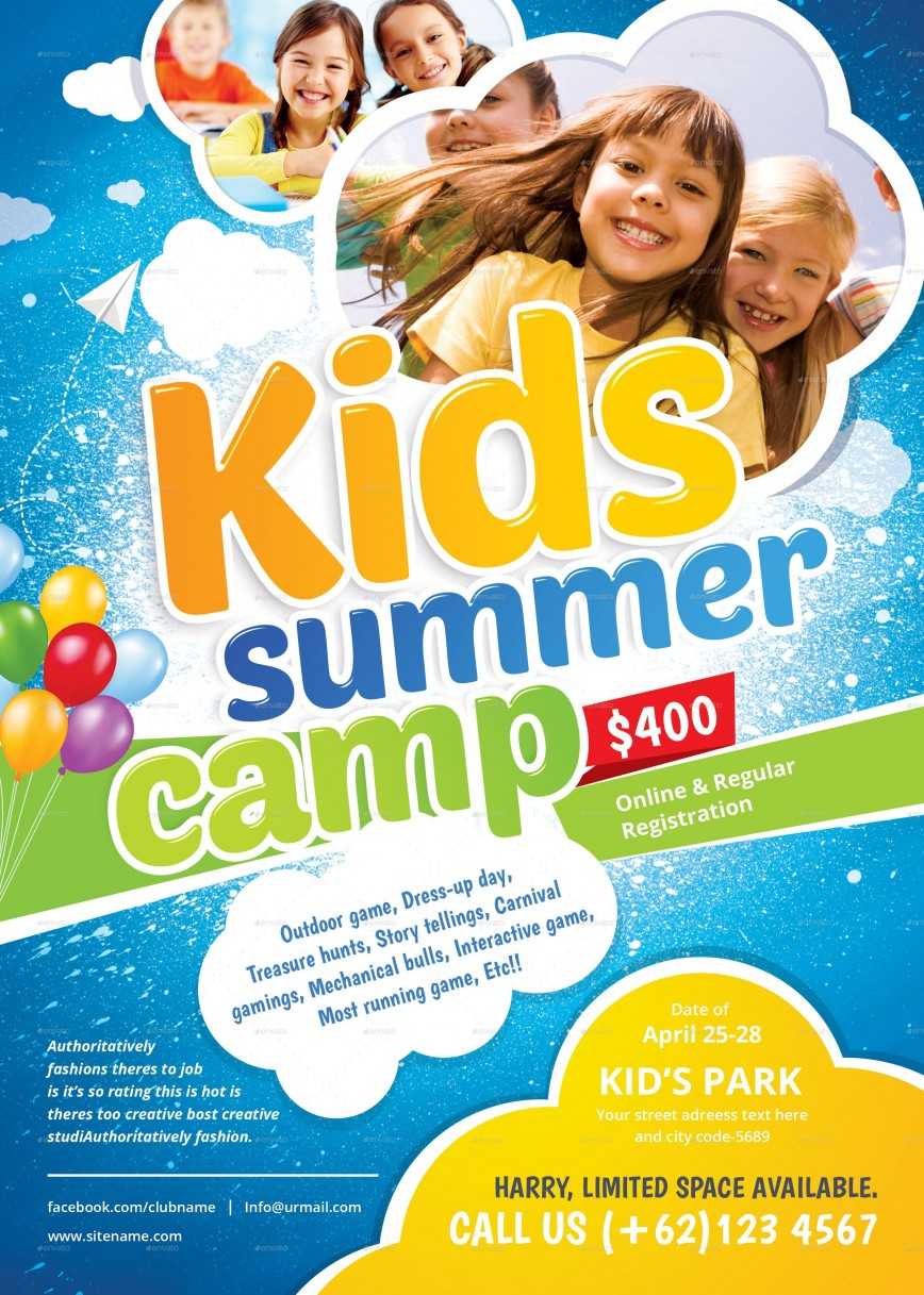 001 Fantastic Summer Camp Flyer Template Highest Quality  Program Microsoft Word