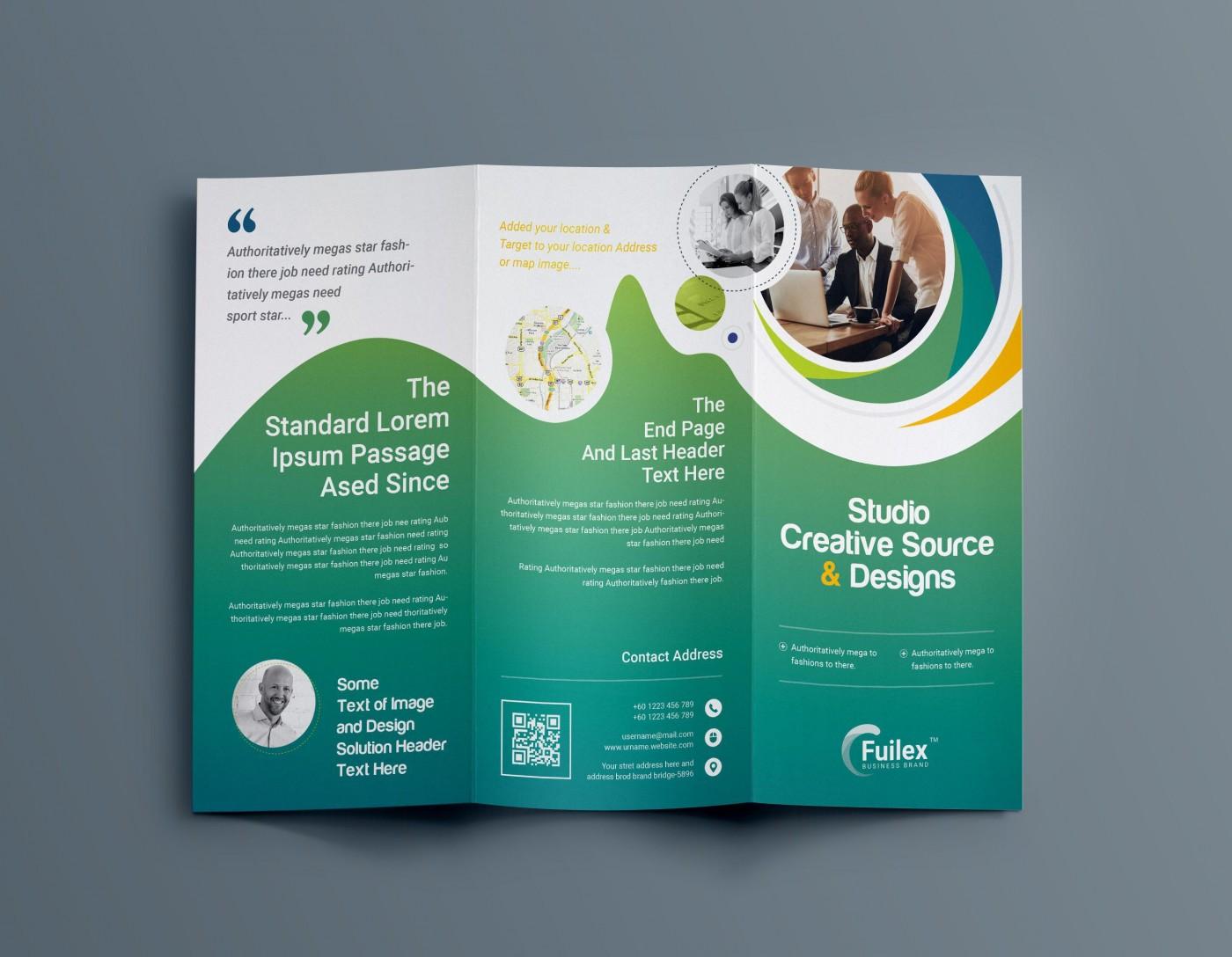 001 Fantastic Three Fold Brochure Template Psd Inspiration  Free 3 A4 Tri Download1400