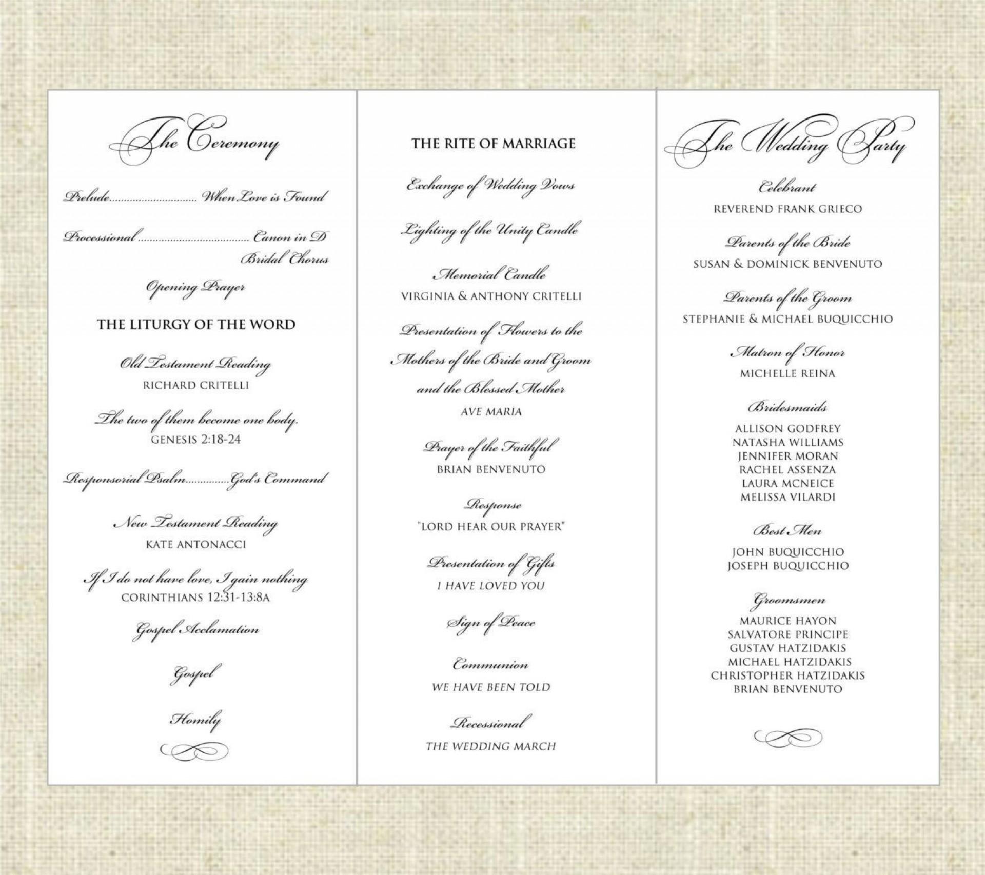 001 Fantastic Trifold Wedding Program Template High Resolution  Tri Fold Word Folded Example1920
