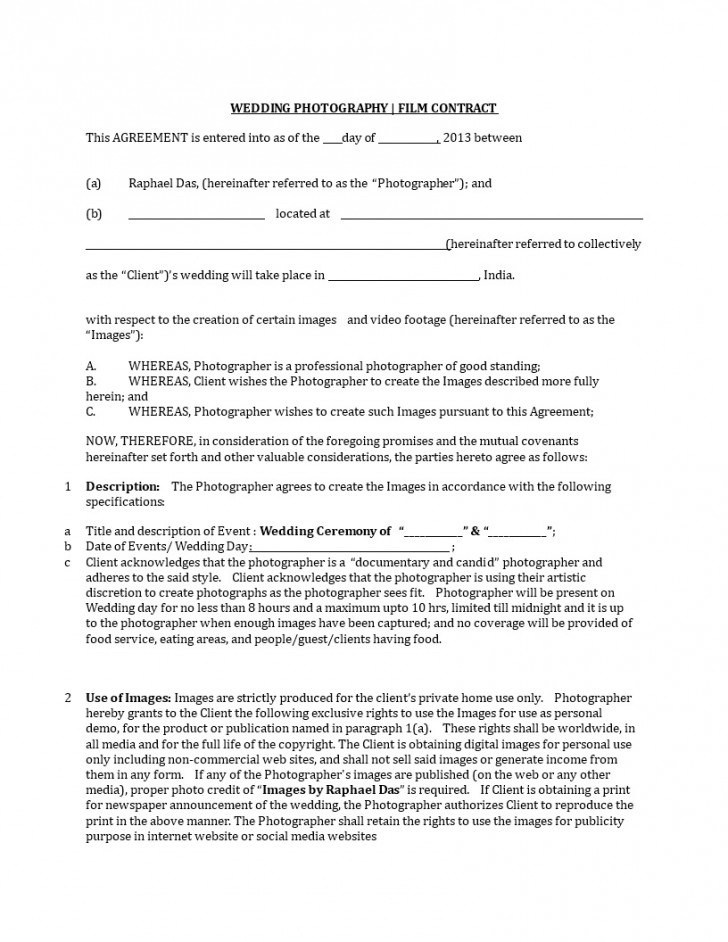 001 Fantastic Wedding Videography Contract Template Highest Quality  Pdf Example Word728