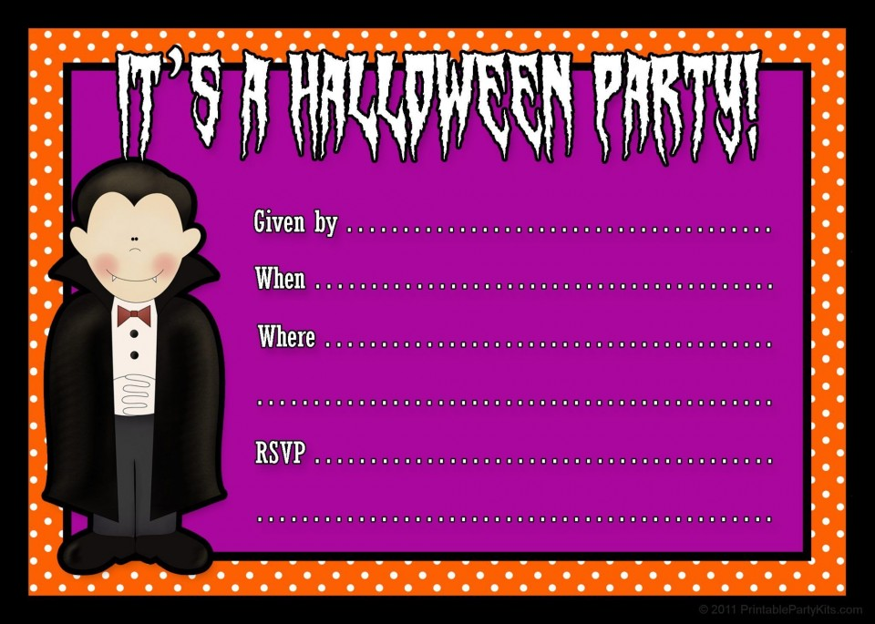 001 Fascinating Free Halloween Party Invitation Template Highest Quality  Printable Birthday For Word Download960