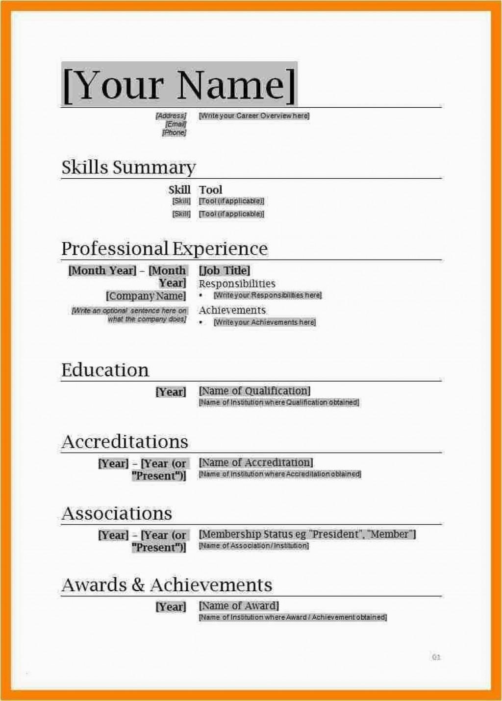 001 Fascinating Free Professional Resume Template Microsoft Word Sample  Cv 2010Large