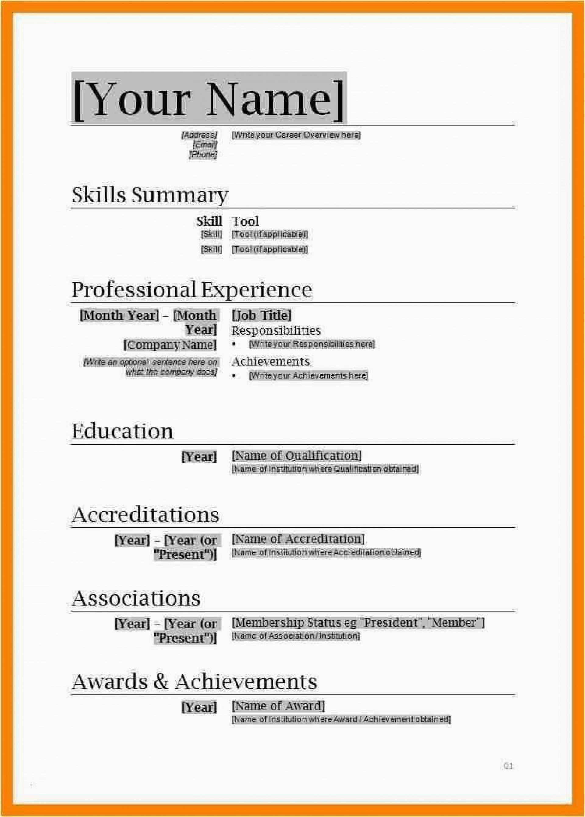 001 Fascinating Free Professional Resume Template Microsoft Word Sample  Cv 20101920
