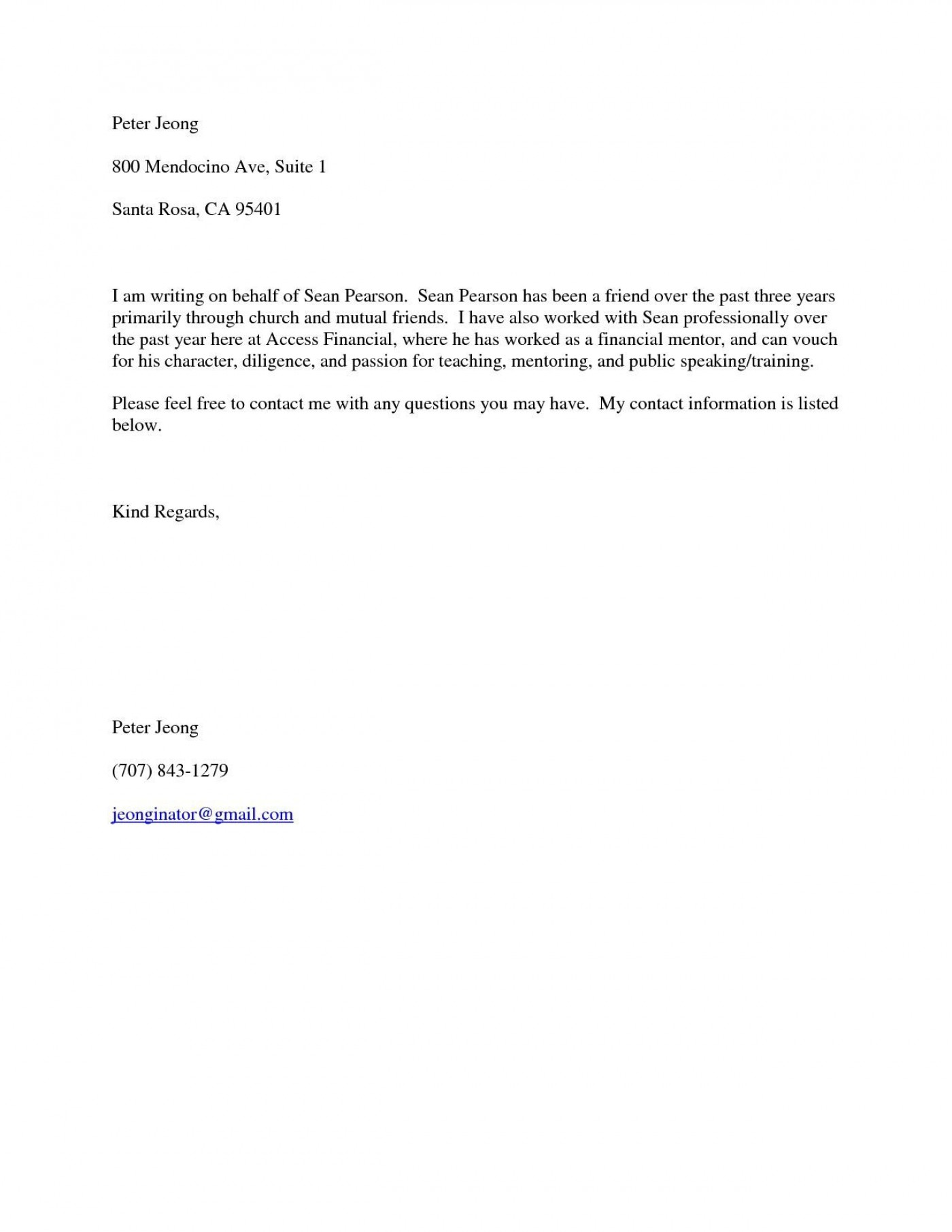 001 Fascinating Free Reference Letter Template For Friend Design 1400