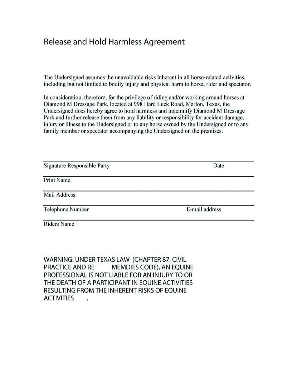 001 Fascinating Hold Harmles Agreement Template Design  Canada Word Free DownloadLarge