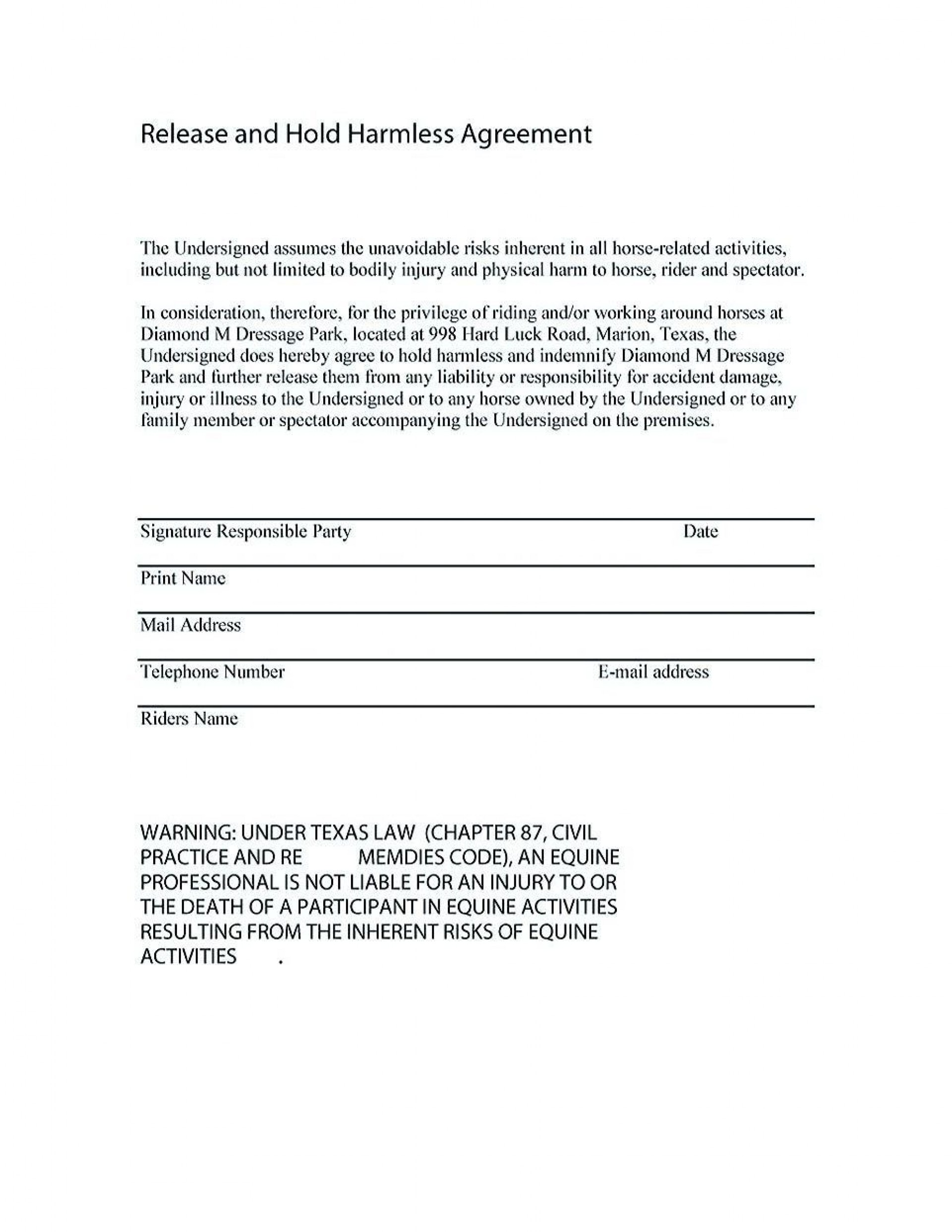 001 Fascinating Hold Harmles Agreement Template Design  Canada Word Free Download1920