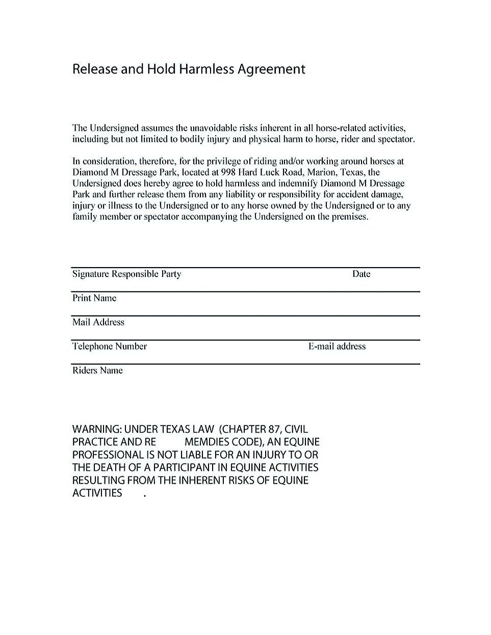 001 Fascinating Hold Harmles Agreement Template Design  Canada Word Free DownloadFull