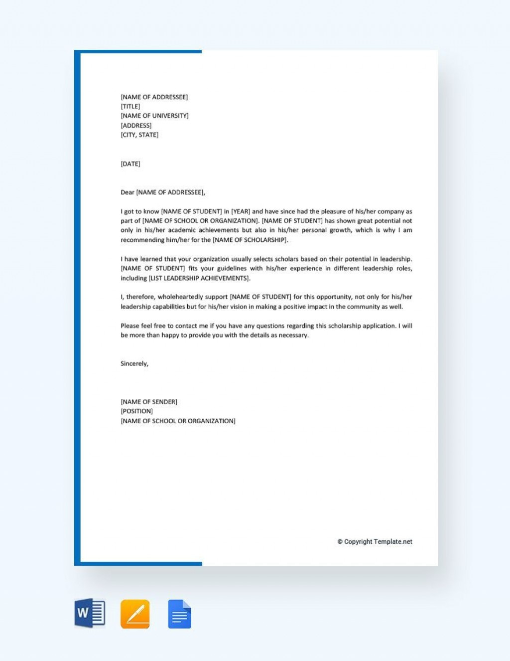 001 Fascinating Letter Of Recommendation Template For College Student High Def  Sample From ProfessorLarge