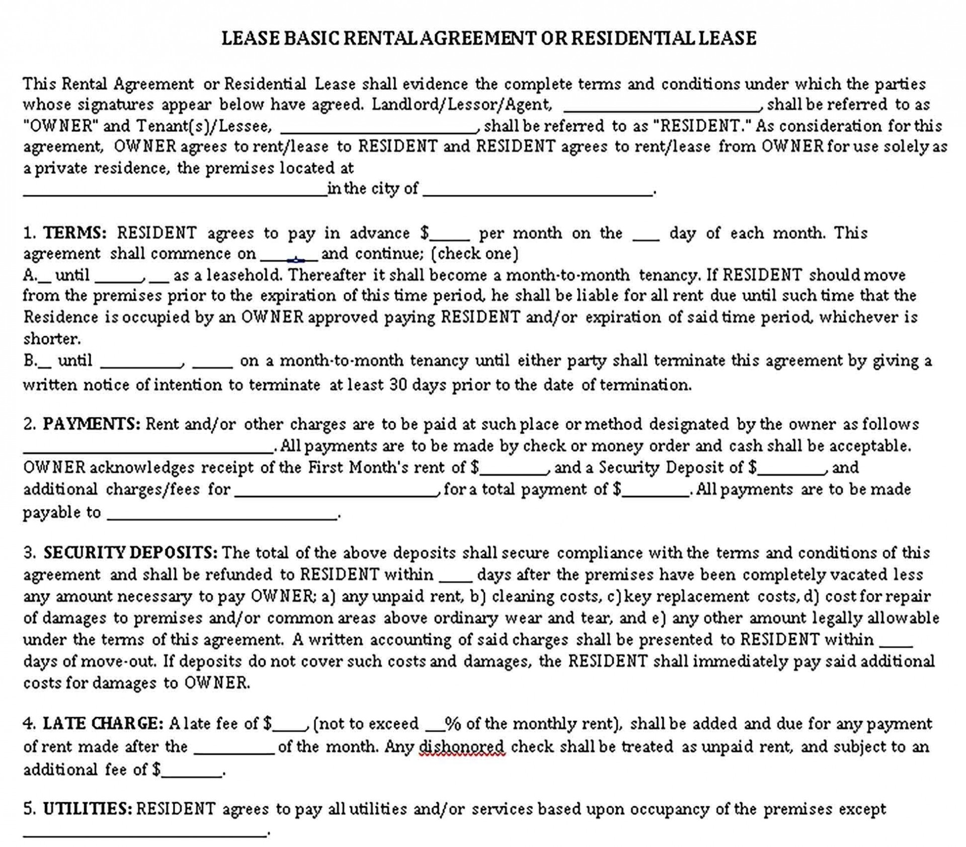 001 Fascinating Renter Lease Agreement Template Sample  Apartment Form Early Termination Of By Tenant South Africa Free1920