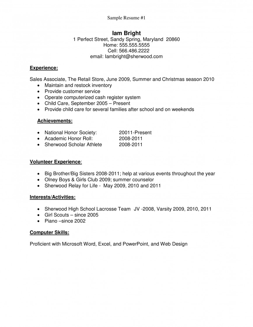 001 Fascinating Resume Template High School Student Image  Sample First Job868