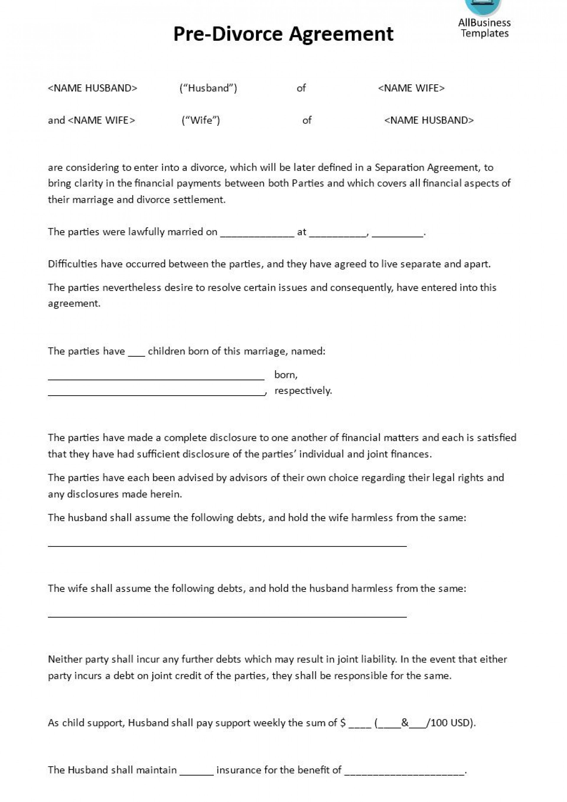 001 Fascinating Virginia Separation Agreement Template Highest Quality  Marital Marriage1920