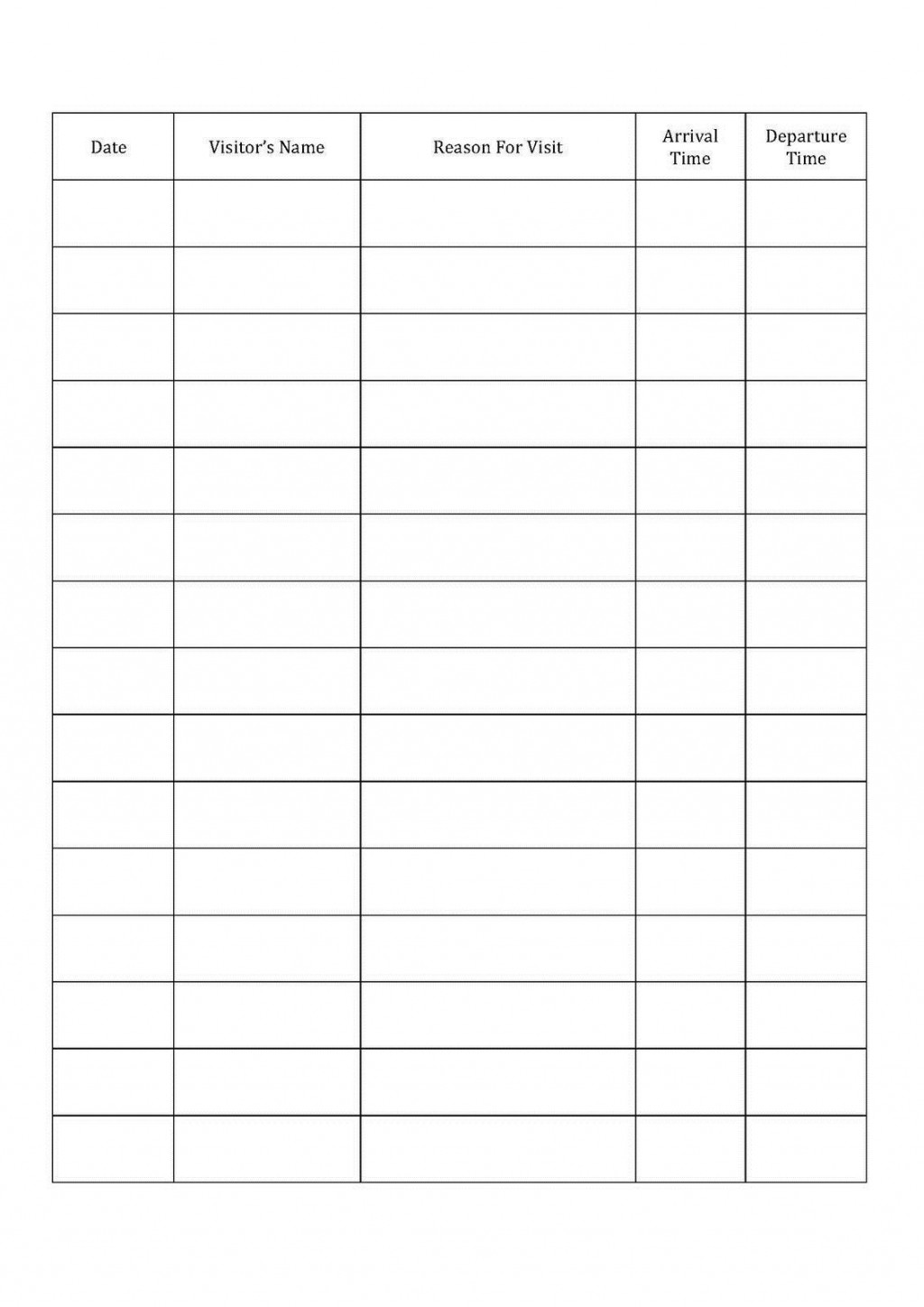 001 Fascinating Visitor Sign In Sheet Template Printable High Definition  Free WordLarge