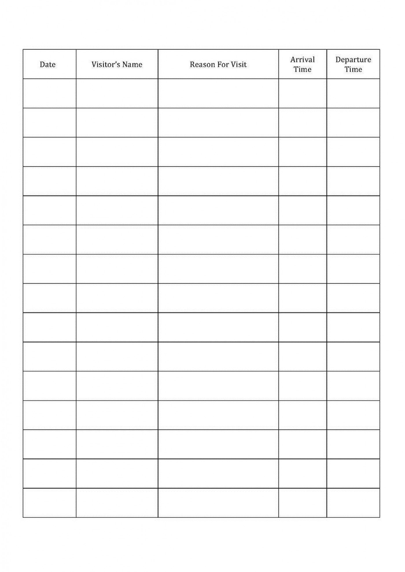 001 Fascinating Visitor Sign In Sheet Template Printable High Definition  Free Word1400