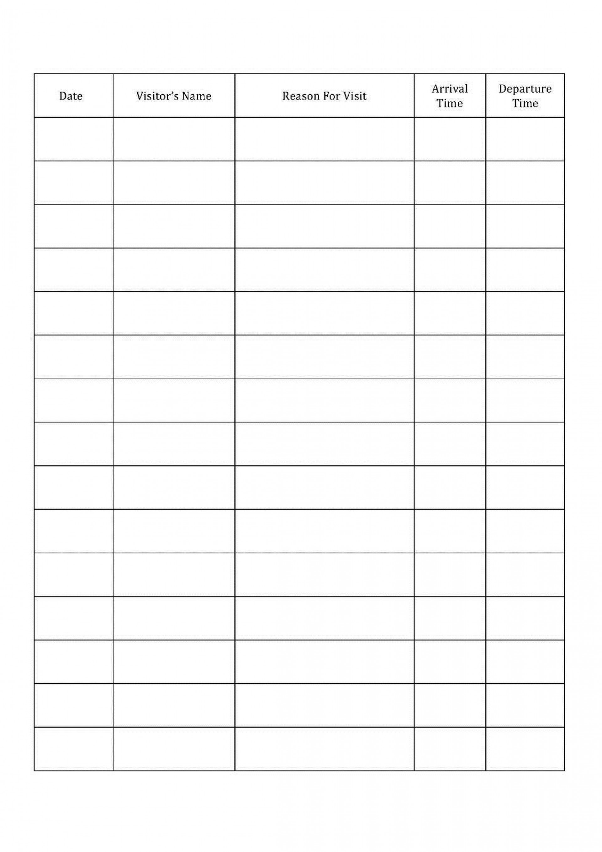 001 Fascinating Visitor Sign In Sheet Template Printable High Definition  Free Word1920