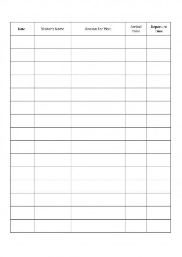 001 Fascinating Visitor Sign In Sheet Template Printable High Definition  Free Word360