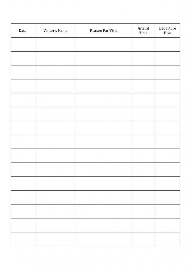001 Fascinating Visitor Sign In Sheet Template Printable High Definition  Free Word728