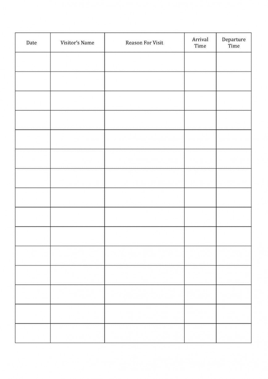 001 Fascinating Visitor Sign In Sheet Template Printable High Definition  Free868
