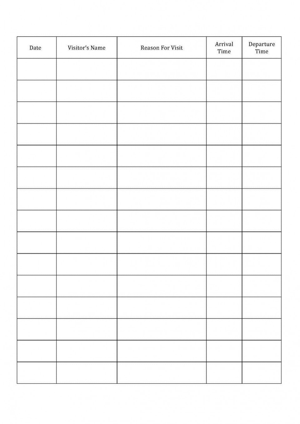 001 Fascinating Visitor Sign In Sheet Template Printable High Definition  Free960