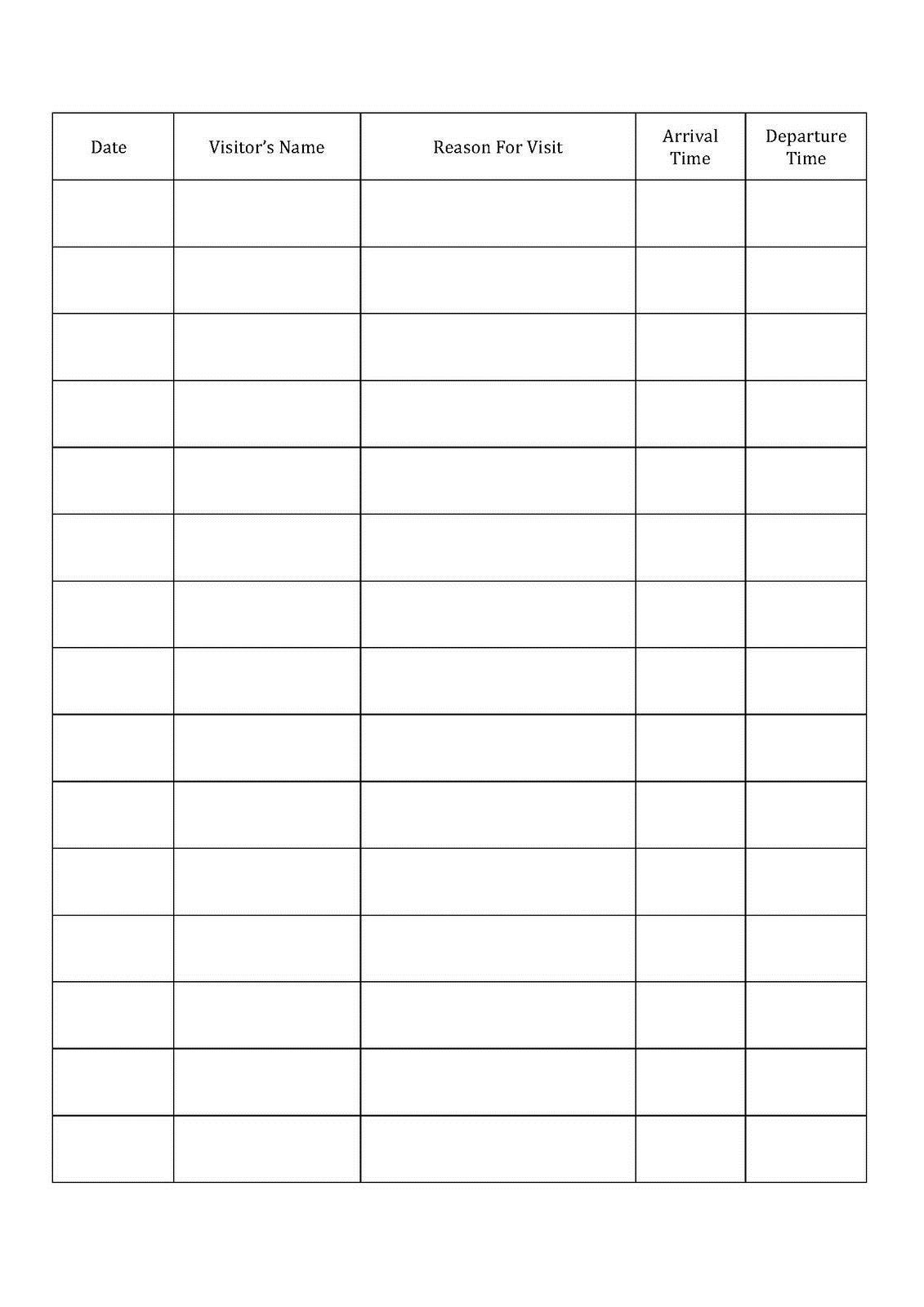 001 Fascinating Visitor Sign In Sheet Template Printable High Definition  Free WordFull