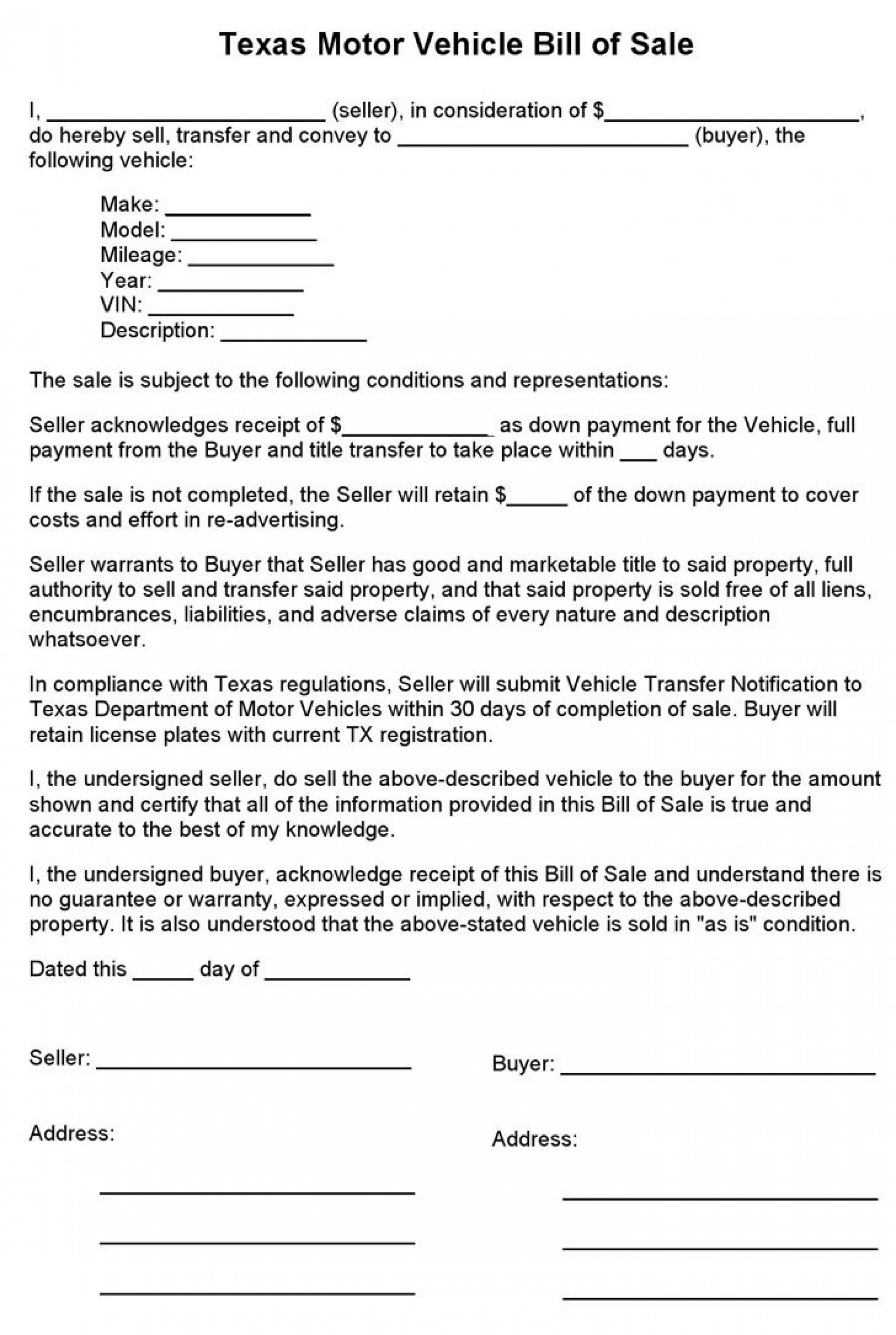 001 Fearsome Bill Of Sale Texa Template Highest Clarity  Motor Vehicle Form Free Printable1920
