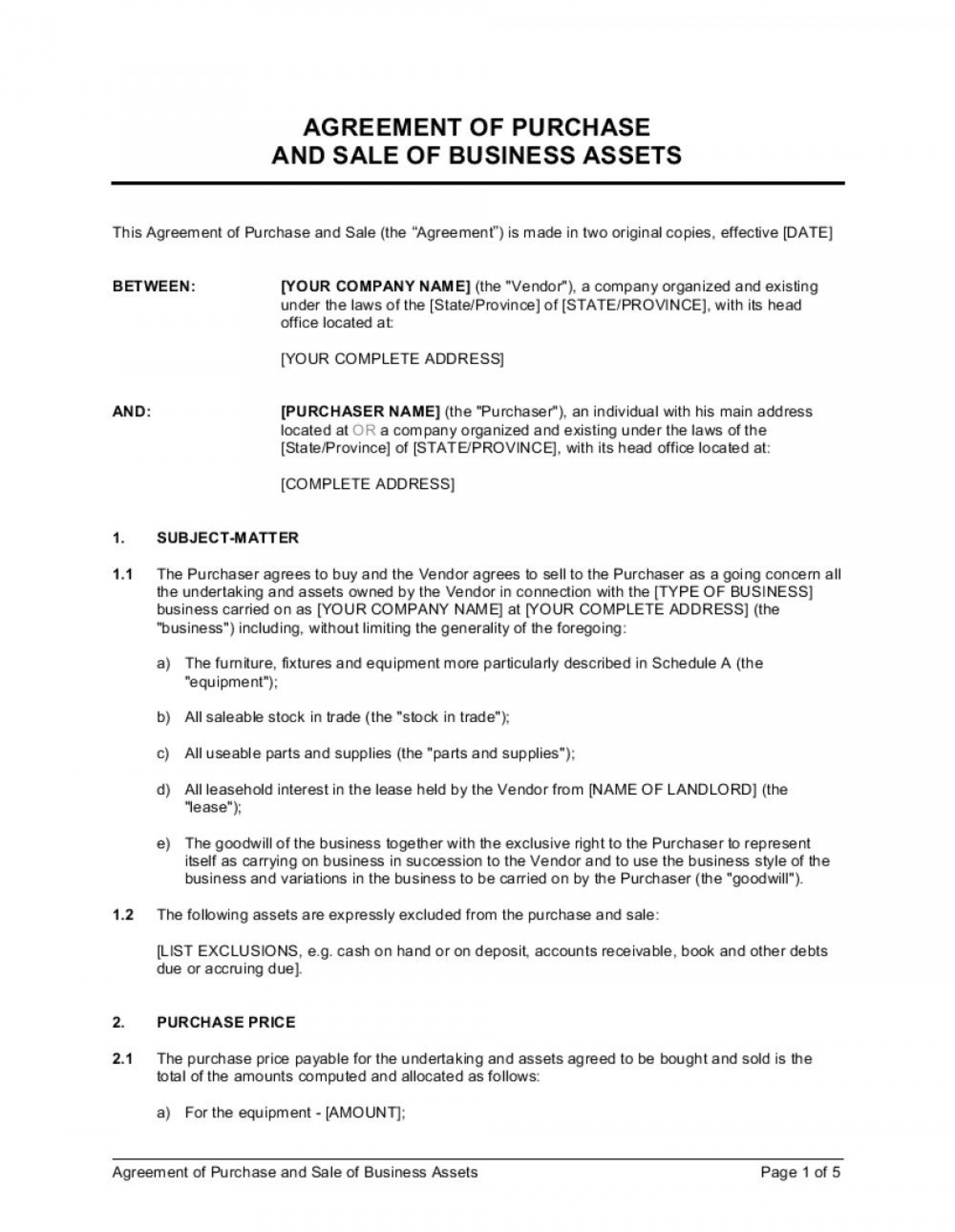 001 Fearsome Busines Purchase Agreement Template Design  Free Uk Sale And Nz Buying Contract1920