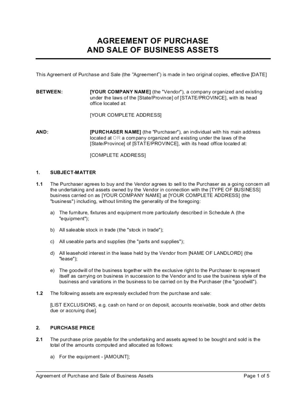 001 Fearsome Busines Purchase Agreement Template Design  Free Uk Sale And Nz Buying ContractFull