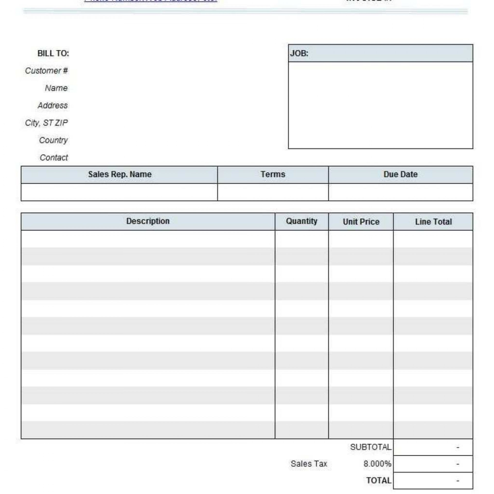 001 Fearsome Consulting Invoice Template Word High Def  Service Consultant Microsoft Contractor1920