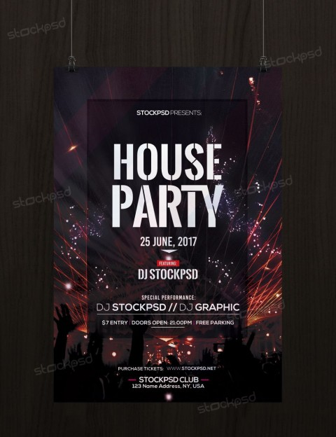 001 Fearsome Free Party Flyer Template For Photoshop Highest Quality  Pool Psd Download480